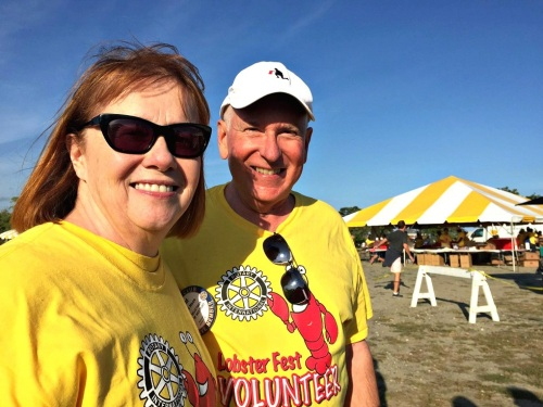 First Selectman Jim Marpe and his wife Mary Ellen were also Lobster Fest volunteers.