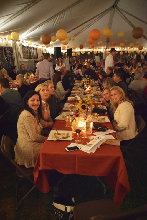 Dining inside the farmhouse tent. (Photo/Charlie Colasurdo)