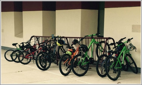 At least a few kids ride their bikes to Long Lots Elementary School.