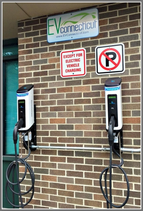 The new EV charging stations at Staples High School.