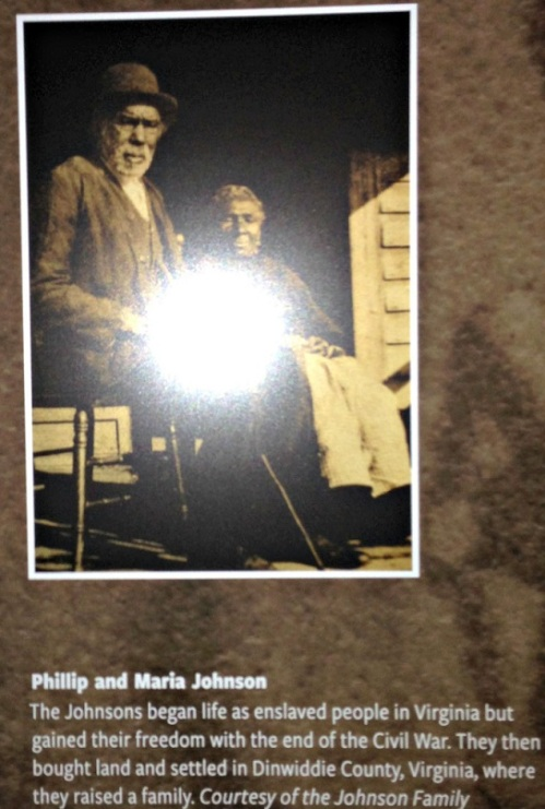 Judith Hamer and her sister donated this photographer of their great-great-grandparents, Philip and Maria Johnson. The white spot in the center is the glare from Judith's camera.