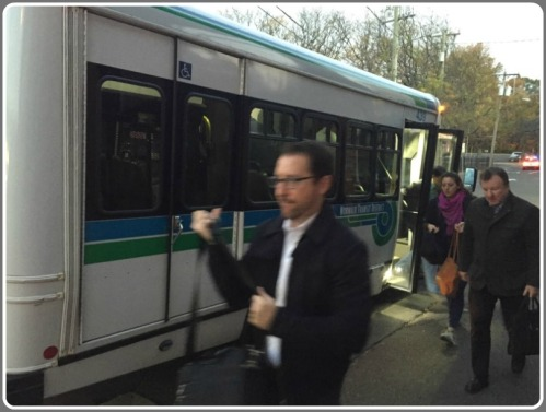Commuters using the Westport Transit District shuttle service.