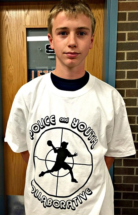 "Westport Youth Commission member Colin Corneck sports a ""Collaborative"" t-shirt."