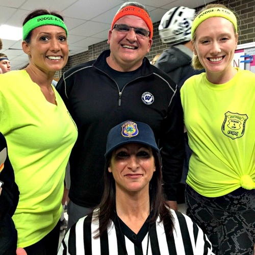 Police chief Foti Koskinas is flanked by dodgeball players Det. Sgt. Sereneti Dobson and Lt. Jillian Cabara. The referee (front) is Det. Sharon Russo.