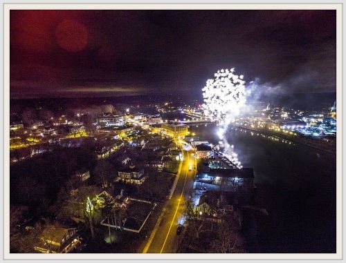 John Videler's drone captures the First Night fireworks over Westport.