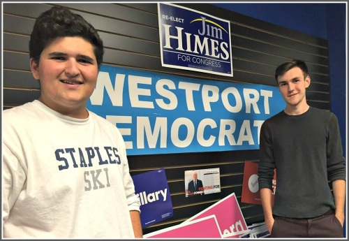 George Kane (left) and Eli Debenham run Westport's Democratic headquarters phone bank and volunteer operations.