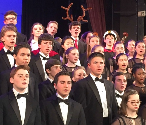 "Rudolph the Red-Nosed Reindeer joined in the rousing ""Hallelujah Chorus"" finale."