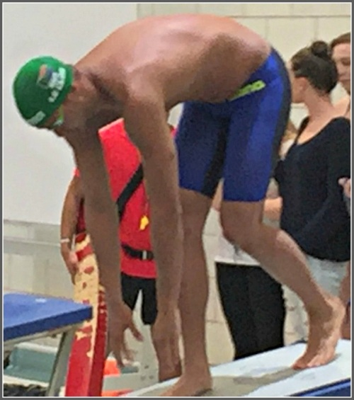Chad le Clos, on the Westport Y starting block.