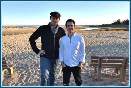 Claus Meyer (left) and Jeff Northrop Jr. at Old Mill Beach, before their oyster farm tour and tasting.