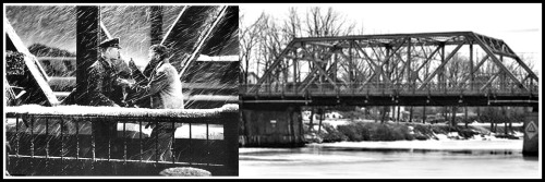 George Bailey on the Bedford Falls bridge (left); the actual Seneca Falls bridge (right). (Photos/Ottawarewind.com)