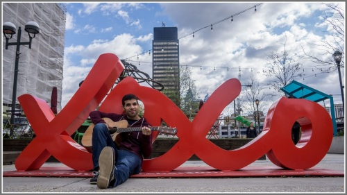 Jake Bernard, in the city he loves.