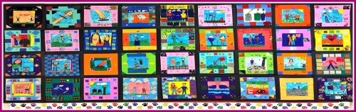 Long Lots 3rd graders made this quilt, showing what kindness means to them.