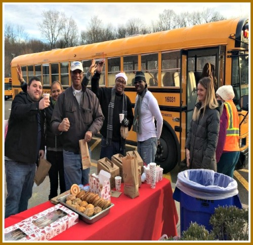 Long Lots bus drivers enjoy Kindness Week treats.