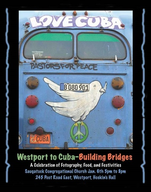 A poster for the Saugatuck Church exhibit shows the 1970s-era, Partridge Family-style bus the Westporters used during their trip to Cuba last June.