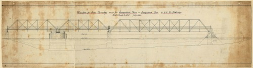 Original plans for the 1884 Saugatuck River bridge. (Image courtesy of Westport Historical Society)