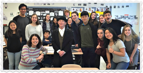 """Horace Staples"" posed with students in Barbara Robbins' English class this morning."