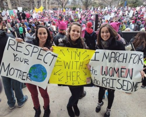 Staples Class of 2011 KD DeVoll (center) and friends, at the Washington march.