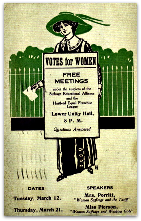 A poster for the Hartford suffrage event. Westport women participated.