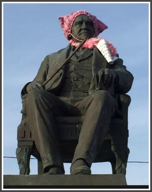 "A photo posted to the PSNCT Facebook page shows a statue of PT Barnum in Bridgeport, ""supporting"" Saturday's women's march on Washington."