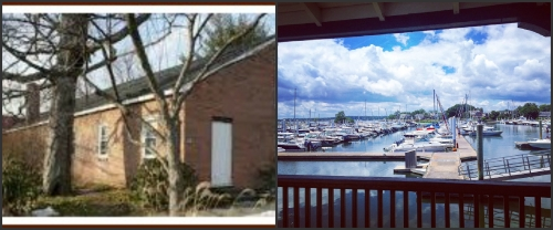 Two faces of Westport: the Gillespie Center and Ned Dimes Marina.