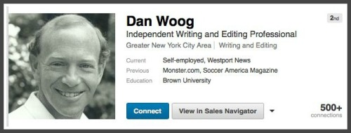"My LinkedIn main page before Sandra Long got to work. Sure, it says 500+ connections. But I hadn't really ""connected"" with many of them in years."