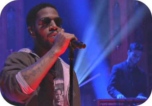 Danny Pravder (right), backing King Cudi on national TV.
