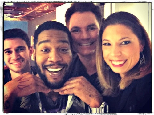 "Danny Pravder (left) with King Cudi and members of the Da Capo Players, backstage at ""The Tonight Show with Jimmy Fallon."""