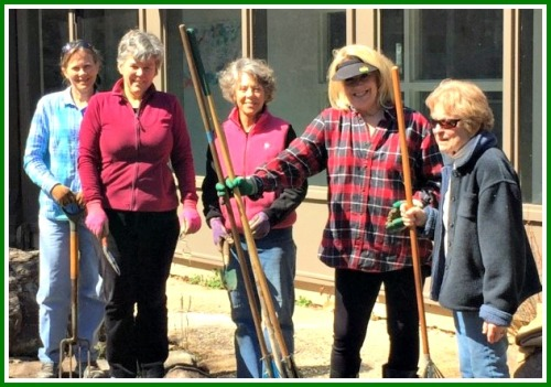 Greens Farms Garden Club members (from left) Ann Watkins, Barbara Harman, Wynn Herrmann, Rivers Teske and Donnie Nader take a rare break from their Earthplace work.