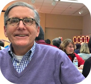 Jeff Wieser was ready for the Crossword Puzzle Contest. The countdown clock is in the background. There were 3 preliminary rounds, of 20 minutes each.