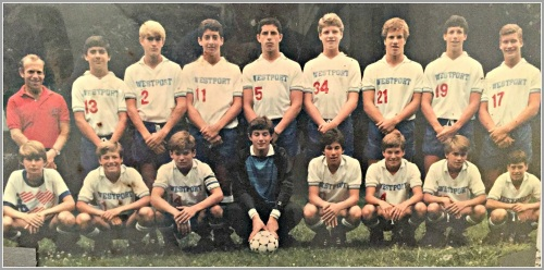 The 1986 Connecticut state soccer champion Westport Warriors team. Jon Walker is in the back row, 2nd from left.