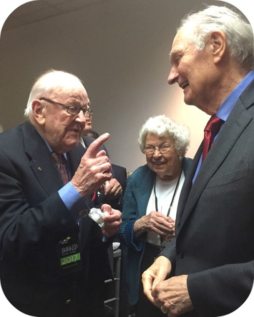 At A Pre Event Reception Alan Alda Jokes With Larry And Martha Aasen