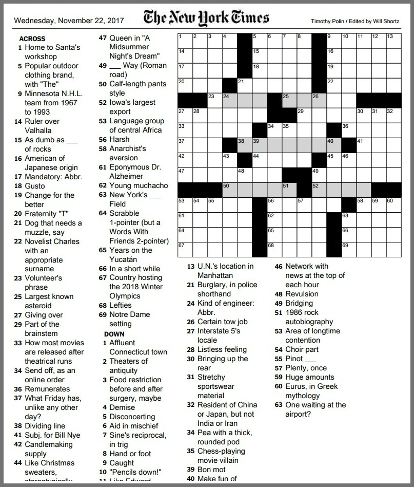 image about New York Times Crossword Printable Free Sunday titled Contemporary York Instances crossword puzzle 06880